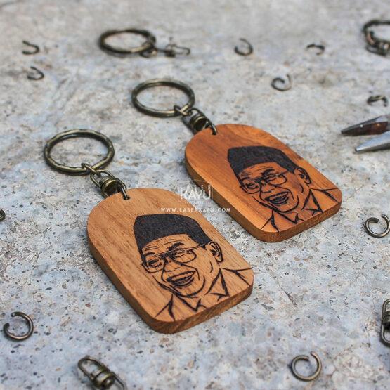 Pembuat Kerajinan Gantungan Kunci Laser kayu Jati Terbaik Gusdur President Indonesia